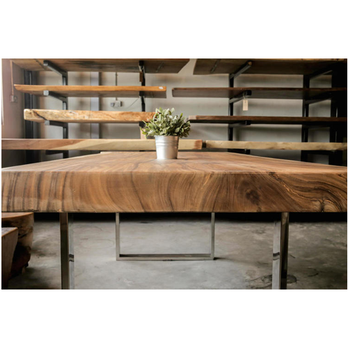 Suar Dining Table with Stainless Steel Base